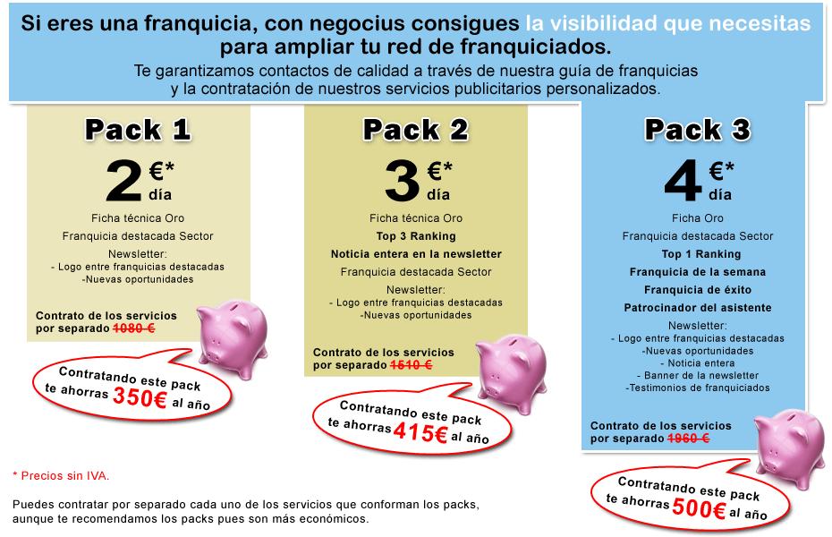 Precios de packs de franquicias